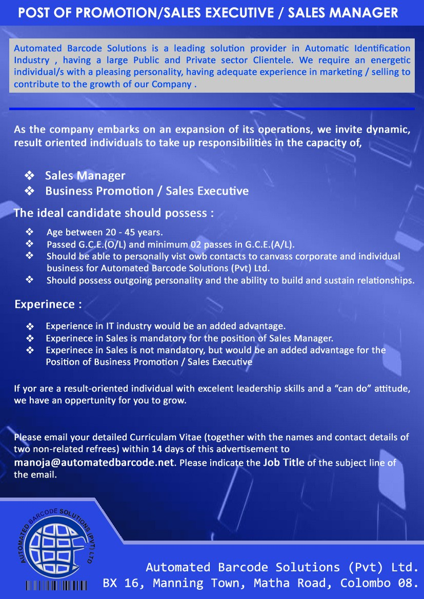 Sales Manager,automated barcode,Jobs vacancies in sri lanka, top